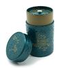 boite-a-the-yumiko-bleu-or-150g-decor-fleurs-embossees