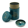 boite-a-the-yumiko-bleu-or-150g-decor-fleurs-bouchon-hermetique