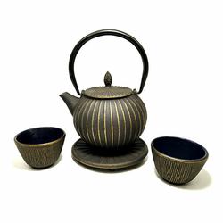 Service à thé en fonte avec support - 0,85 L - Noir et or