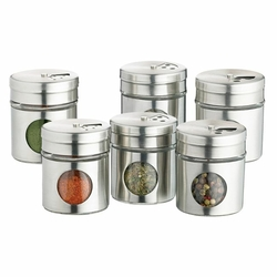 Lot de 6 pots à épices en inox