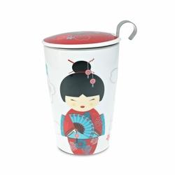 Tisanière Little Geisha Rouge porcelaine double paroi 35cl avec filtre