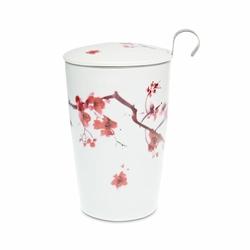 Tisanière Cherry Kyoto porcelaine double paroi 35cl avec filtre
