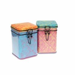 Lot de 2 boites à thé Indra - Format carré - Tailles multiples