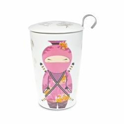 Tisanière Little Ninja Rose double paroi 35cl avec filtre