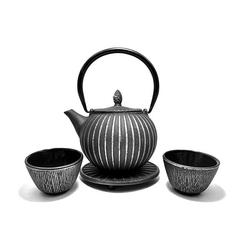 Service à thé en fonte avec support - 0,85 L - Noir et argent