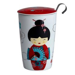 Tisanière Little Geisha Rouge porcelaine double paroi avec filtre - 35cl