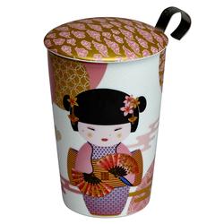 Tisanière New Little Geisha Rose porcelaine double paroi avec filtre - 35 cl
