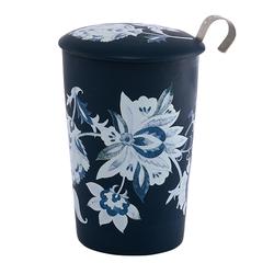 Tisanière Luna bleue porcelaine double paroi avec filtre - 35 cl