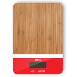 Balance rectangulaire en bambou de 5 g à 5 kg - blanc/rouge