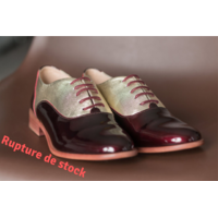 Derbies bordeaux et or en cuir