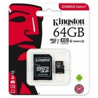 carte mémoire Kingston Canvas Select microSDHC 64 Go classe 10 UHS-I U1 - 80 Mo / s + adaptateur