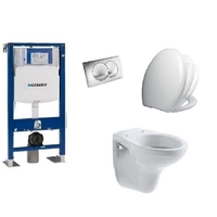 PACK COMPLET WC SUSPENDU BATI GEBERIT AUTOPORTANT + PLAQUE DELTA CHROME + CUVETTE VOLTA VILLEROY AND BOCH + ABATTANT SIAMP VALLAURIS
