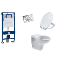 PACK COMPLET WC SUSPENDU BATI GEBERIT AUTOPORTANT + PLAQUE DELTA CHROME + CUVETTE VOLTA VILLEROY AND BOCH + ABATTANT SIAMP MONACO