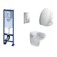 PACK COMPLET WC SUSPENDU BATI GROHE SL AUTOPORTANT + PLAQUE CHROME + CUVETTE VILLEROY AND BOCH VOLTA + ABATTANT SIAMP VALLAURIS