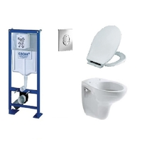 PACK COMPLET WC SUSPENDU BATI GROHE SL AUTOPORTANT + PLAQUE CHROME + CUVETTE VILLEROY AND BOCH VOLTA + ABATTANT SIAMP MONACO