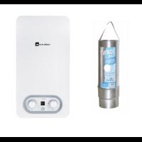Pack Chauffe-eau gaz instantané, ELM LEBLANC, Ondea Hydropower, 10 l/min GAZ NATUREL ( de ville ) bas nox + gaine flexor cheminée