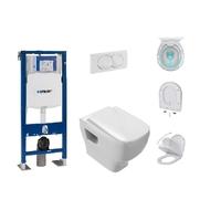 Pack Complet WC suspendu Gerberit Autoportant + Plaque Delta blanche + cuvette sans bride STRUKTURA Jacob Delafon