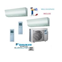 Pack Climatisation Bi split DAIKIN PERFERA Bluevolution R32 3000W + 2 Unités 1500w + MISE EN SERVICE INCLUSE