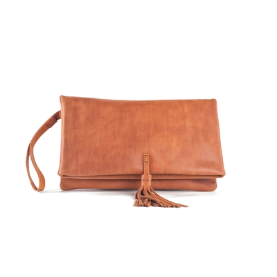 CLUTCH ELENA MEDIUM CUIR NATUREL - Nouvelle Collection