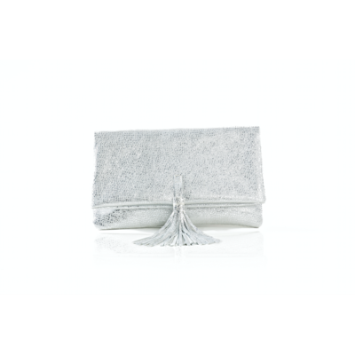 CLUTCH ELENA MEDIUM CRUMBLE SILVER