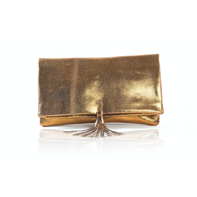 CLUTCH ELENA MEDIUM CRUSHED BRONZE