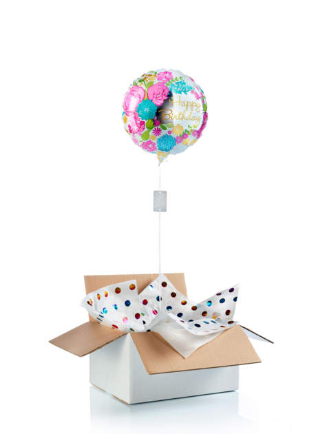 Ballon surprise d\'anniversaire happy birthday fleurs & miroir