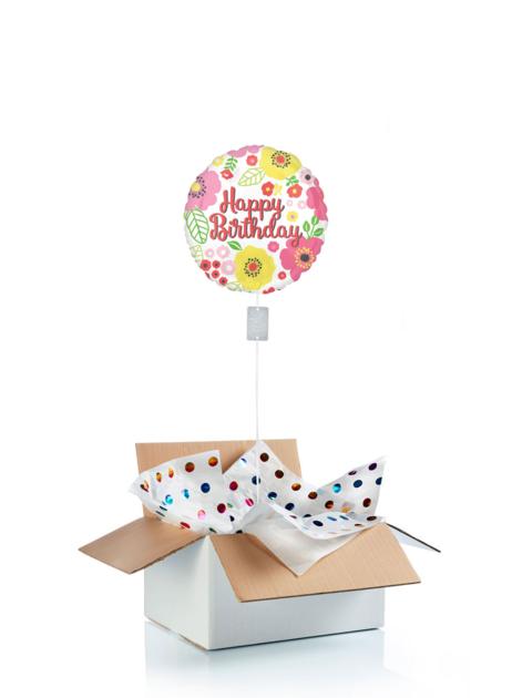 Ballon d\'anniversaire surprise gonflé à l\'hélium : fleurs