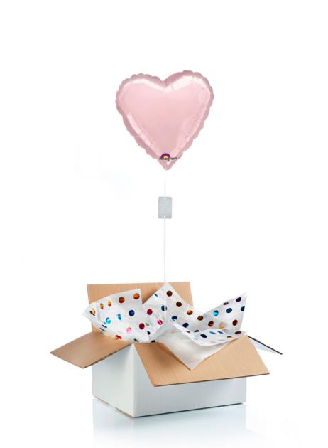 Ballon surprise gonflé à l\'hélium : grand coeur rose perle