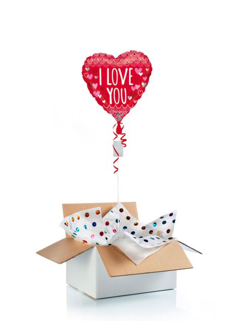 Ballon surprise gonflé à l\'hélium : coeur I love you