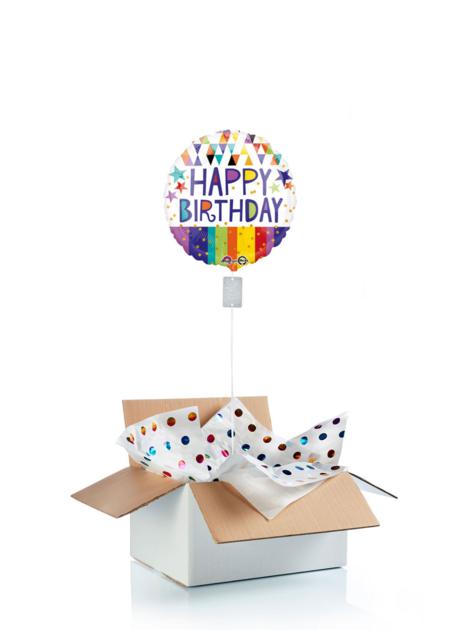 Ballon d\'anniversaire gonflé à l\'helium : couleurs vives