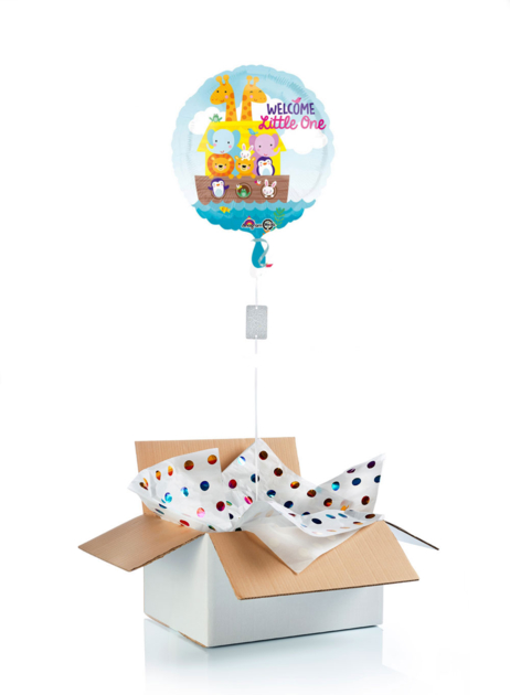 Cadeau de naissance ballon hélium + cadeau : welcome little one