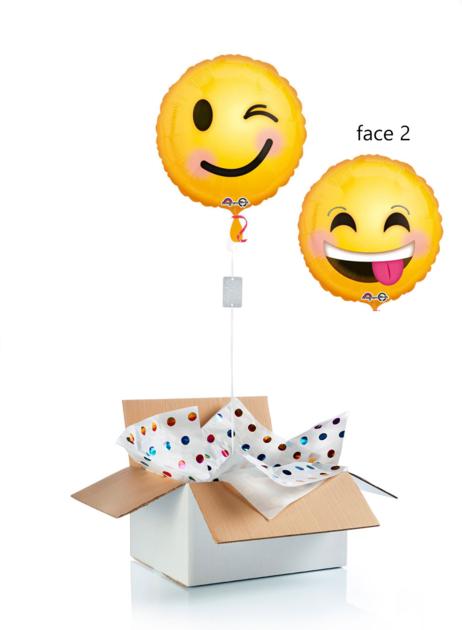 Ballon surprise hélium emoji clin d\'oeil