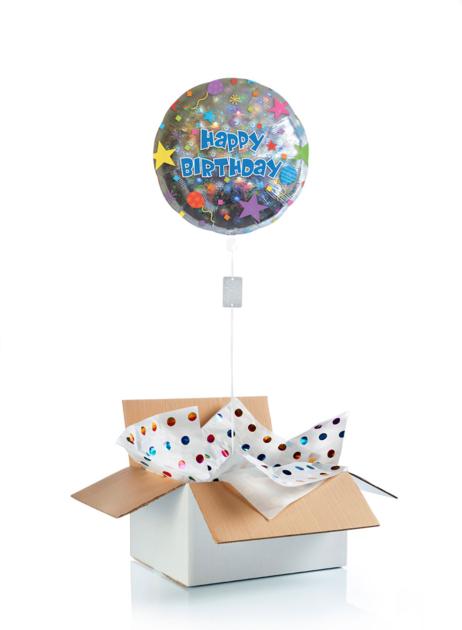 Ballon d\'anniversaire gonflé à l\'hélium confettis