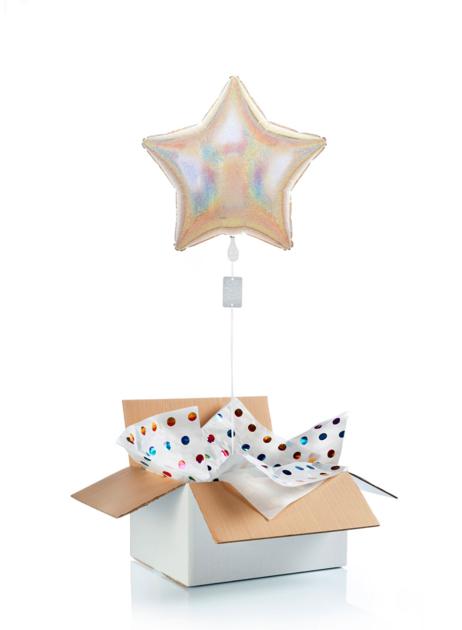 Ballon surprise - étoile blanche  irisée