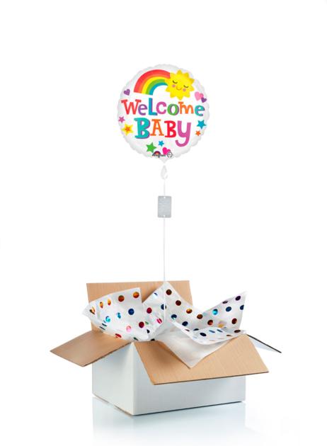 Ballon surprise de bienvenue au bébé arc en ciel
