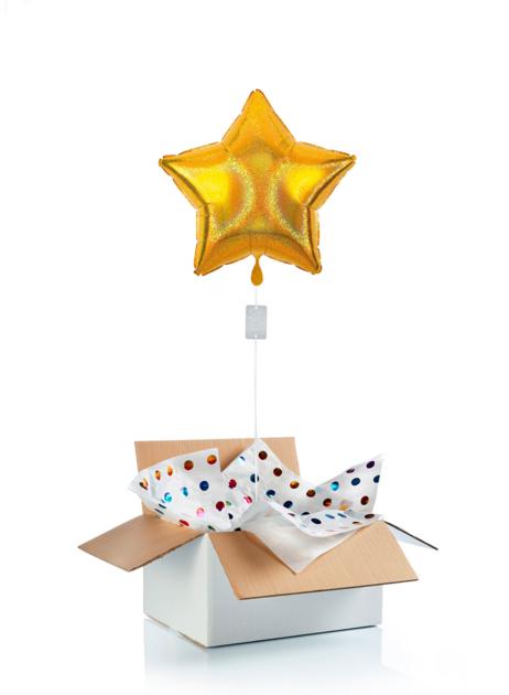 Ballon surprise  - étoile dorée irisée