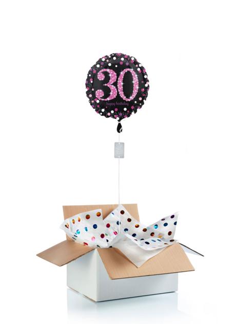 Ballon surprise d\'anniversaire 30 ans - noir/rose