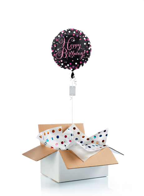 Ballon surprise d\'anniversaire Happy Birthday  - noir/rose