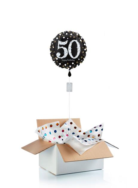 Ballon surprise d\'anniversaire 50 ans - noir/argent