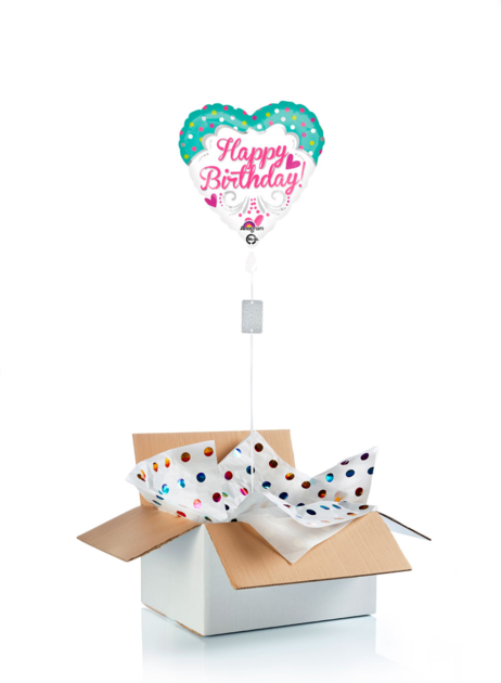 Ballon surprise d\'anniversaire cœur Happy Birthday