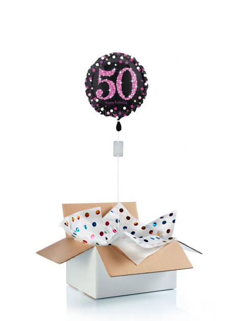 Ballon surprise d\'anniversaire 50 ans - noir/rose