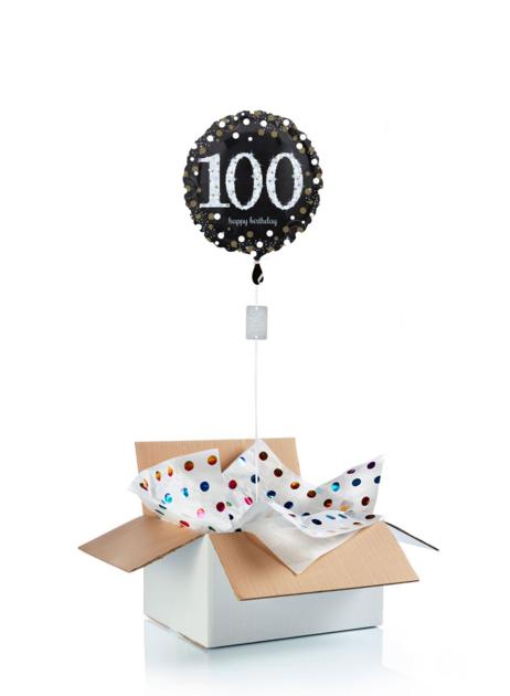 Ballon surprise d\'anniversaire 100 ans - noir/argent