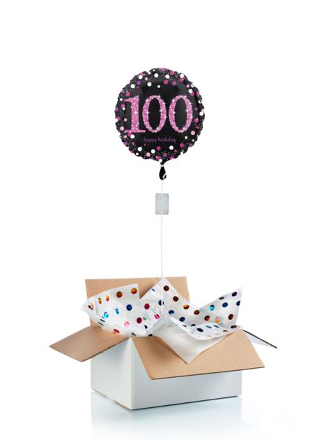 Ballon surprise d\'anniversaire 100 ans - noir/rose