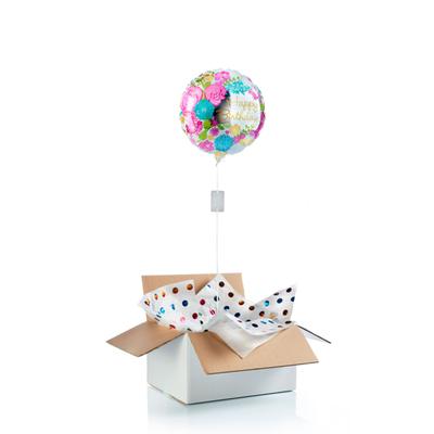 """Ballon surprise d'anniversaire """"happy birthday"""" fleurs & miroir"""