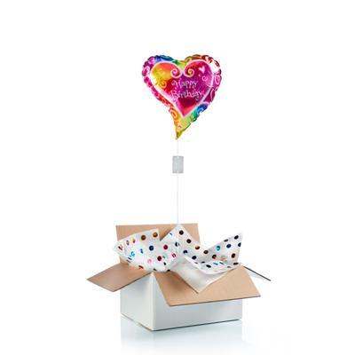 "Ballon surprise d'anniversaire coeur ""happy birthday"""