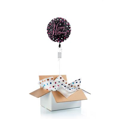 """Ballon surprise d'anniversaire """"Happy Birthday""""  - noir/rose"""