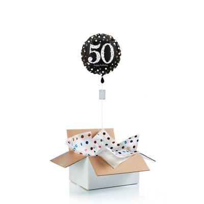 Ballon surprise d'anniversaire 50 ans - noir/argent