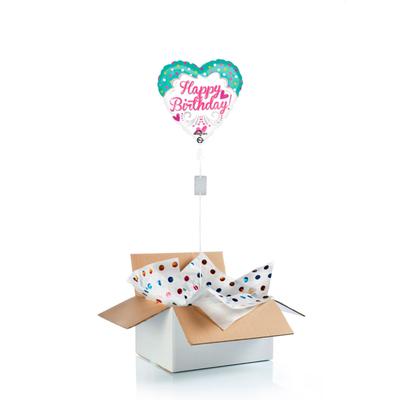 """Ballon surprise d'anniversaire cœur """"Happy Birthday"""""""