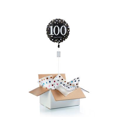 Ballon surprise d'anniversaire 100 ans - noir/argent