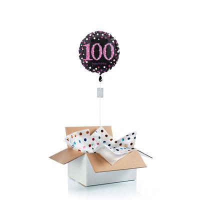 Ballon surprise d'anniversaire 100 ans - noir/rose